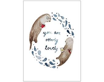Otterly Lovely print, various sizes