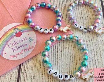 Children/'s Unicorn jelly Bracelet Costume Jewellery Kids Party Bag Fillers lot