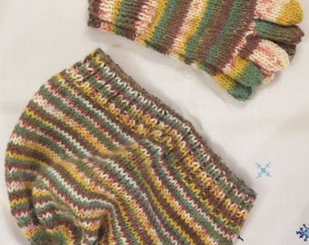 Hat & Gloves Hand Knitted Toddlers Children
