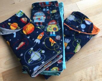 SPACE & ROBOT THEMED! 3 cozy burp cloths