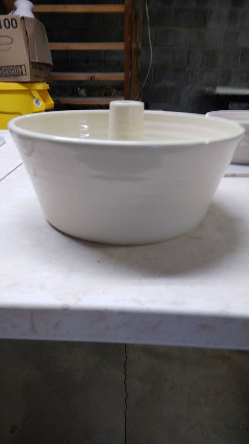 handmade functional 3 weeks. Available in brown or green Pound Cake pan Beautiful Made to order Unique hand-turned pottery Bunt pan