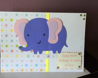 Handmade Birthday Card Childrens Elephant Themed Cute