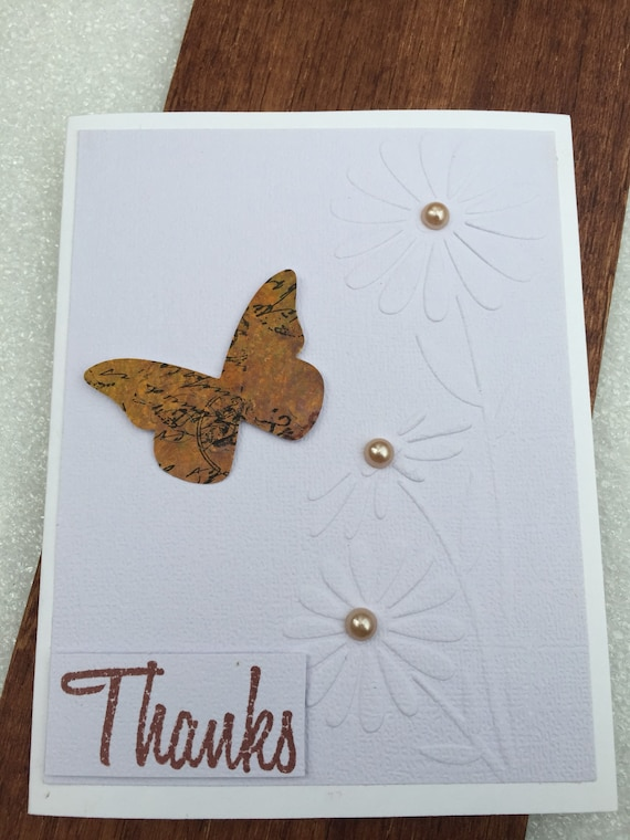 Handmade paper quilled butterfly thank you card embossed etsy image 0 m4hsunfo