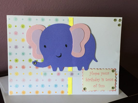Handmade Birthday Card Childrens Elephant