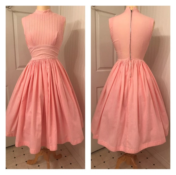 Vintage 1950's pink and white gingham fit and flar