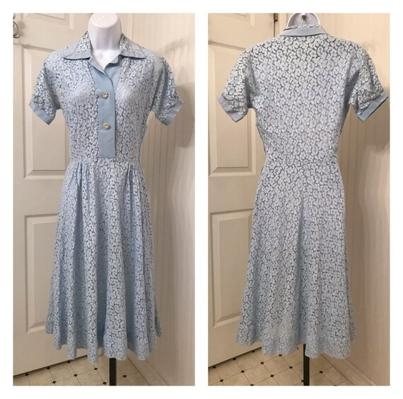 Vintage 1940's blue lace dress, rhinestone buttons
