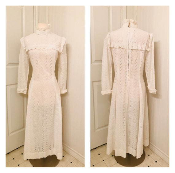 Vintage 1960's peasant maxi dress, white eyelet, h
