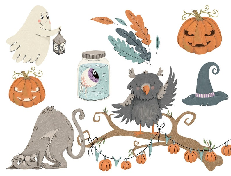 Happy Halloween Graphic Set  Clipart  Illustration  CU Clipart  Designer Resource
