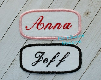 MERRITT  USED EMBROIDERED VINTAGE SEW ON NAME PATCHES OVAL RED ON WHITE