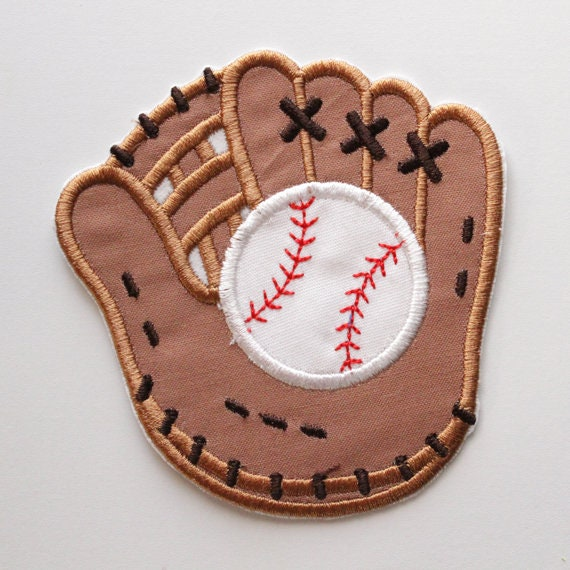 "5/"" BASEBALL GLOVE MIT Iron-On Applique Embroidery Patch 4/"" 6/"" MADE IN USA!!"