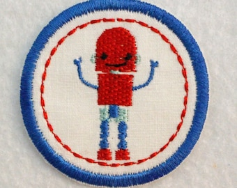 Robot Iron On Patch, Robot Badge, Merit Badge, Robot Merit Badge, Outer Space Badge, Robot Appliqué, Space Robot Iron On Patch, Cute Robot