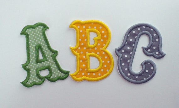 Iron on letters embroidered patch inch letter fabric etsy