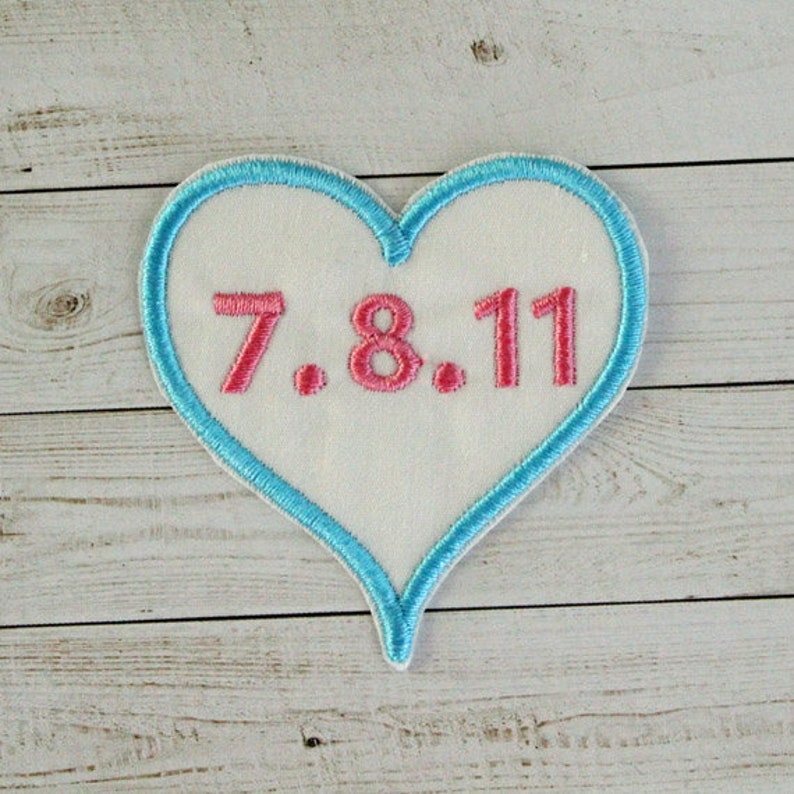Iron On Heart Patch Personalized Date Patch Heart Shaped Patch Fabric Patch Personalized Embroidery Patch Personalized Appliqu\u00e9