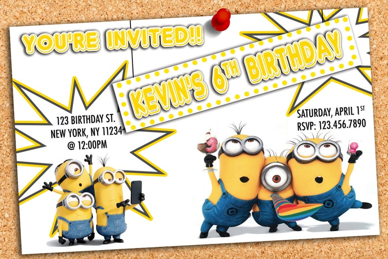 Custom Minions Birthday Invitation
