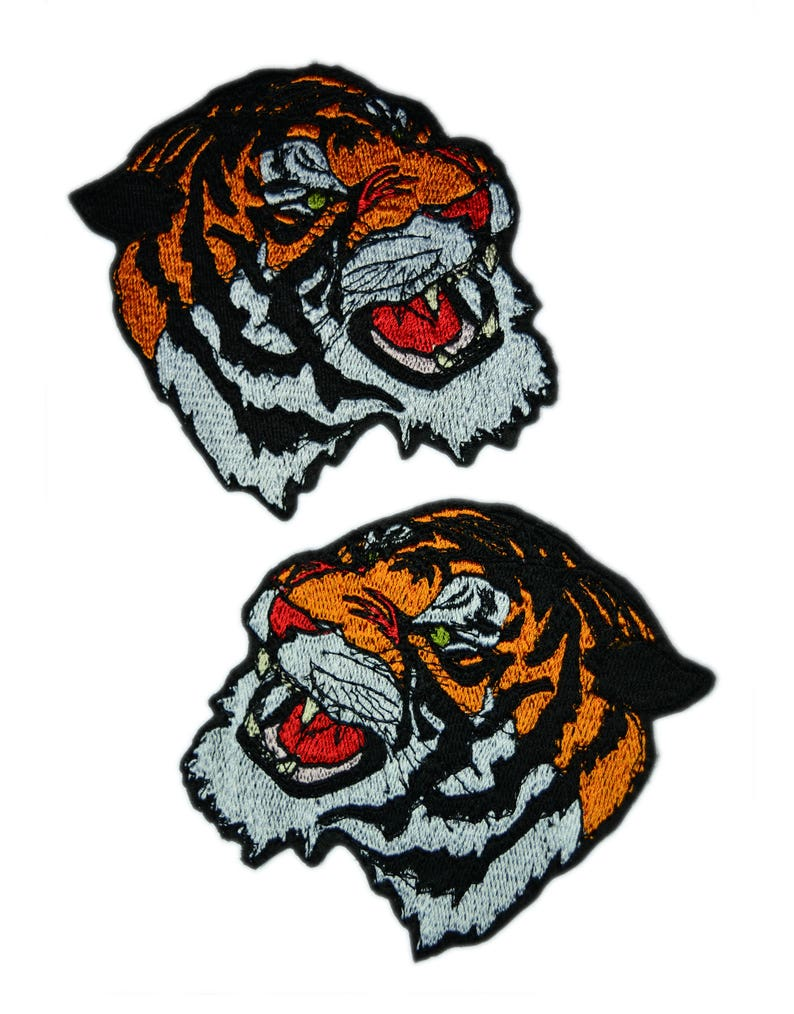 044a0348df0 2 Pcs. Tiger patch Embroidered patch Iron on patch Bag patch