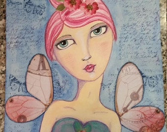 Watercolor and pencil Fairy print