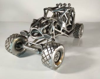 Car Buggy Jeger metal sculpture stainless steel original rider auto model