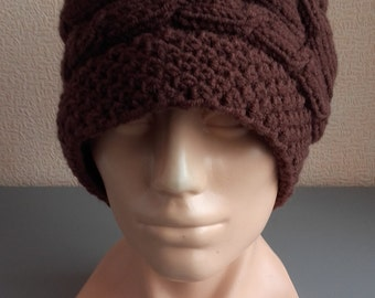 Winter Hat Women's wooly hat Winter Hat Christmas Gift For Her Hat with plaits Slouch Beanie