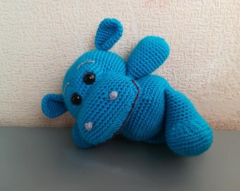Crochet hippo Plush hippo Animal toy