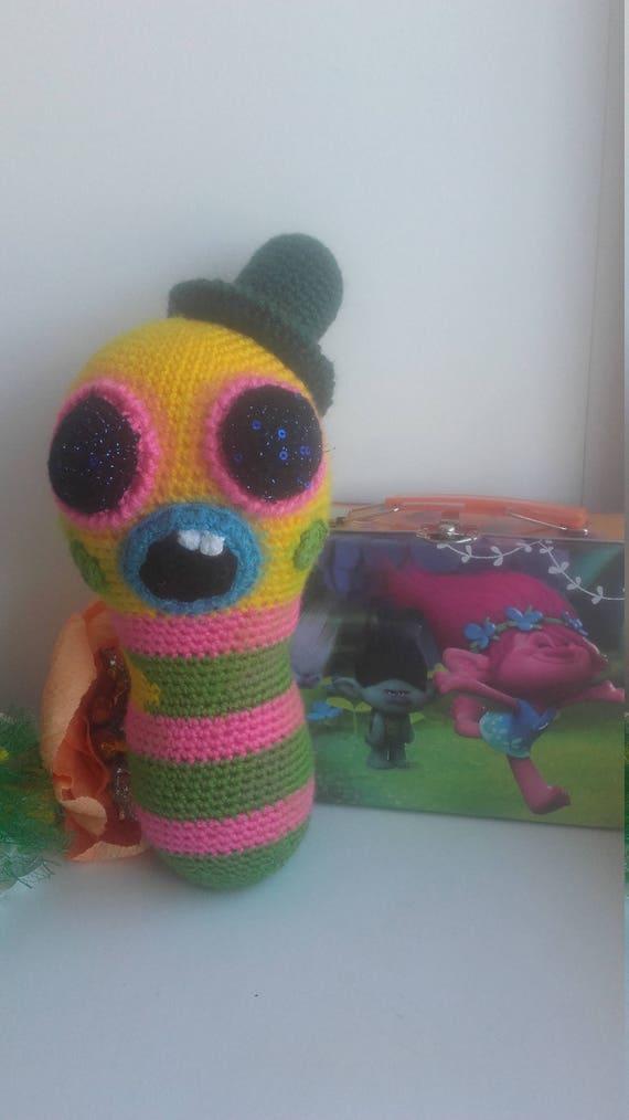 Mr Dinkles Crochet Toy Trolls Plush Toy Caterpillar Soft Toy Etsy