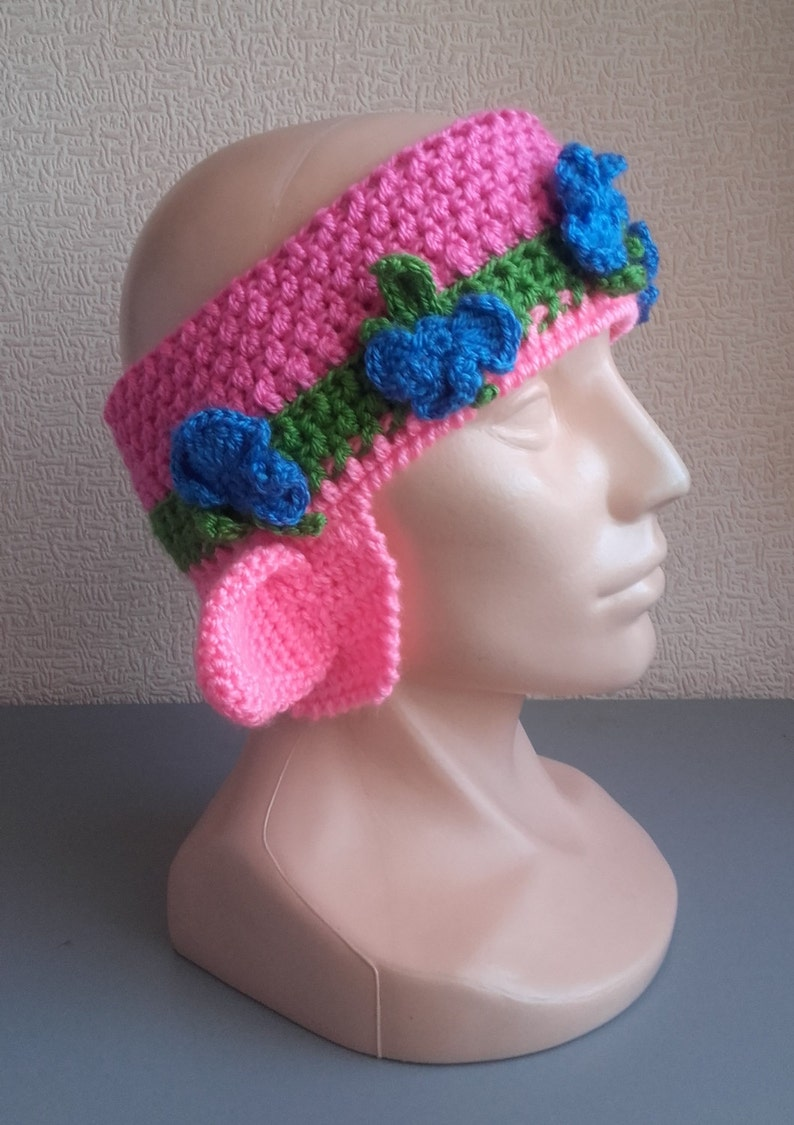 Crochet Headband Poppy Troll Headbands for girls Ear Warmer  004691852d6