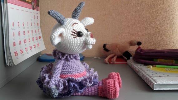 Gehäkelte Ziege häkeln Tier Spielzeug Ziege in Kleid Ziege | Etsy