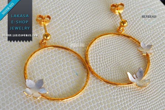 Hoop Earrings Butterfly Flower Silver 925 Gold-plated Handmade Jewelry Lakasa eshop Best Ideas Gifts for her woman anniversary birthday