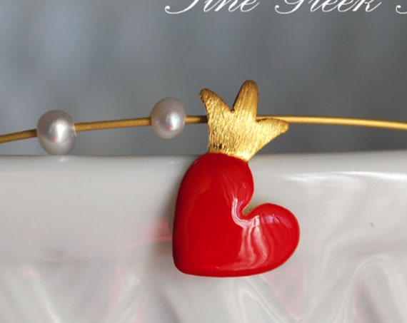 Necklace Red Enamel Heart Crown & Pearls Sterling Silver 925 Gold-plated Handmade Jewelry Best Ideas Gifts Valentine Love Girlfriend Woman