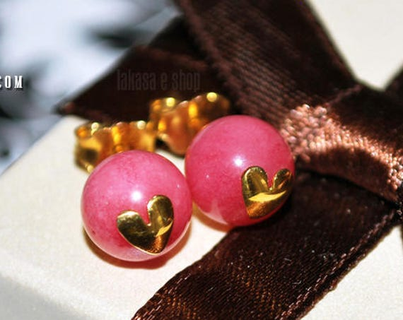 Heart stud earrings cherry quartz beads round sterling silver gold plated jewelry handmade pink candy color lovely natural gemstone gifts