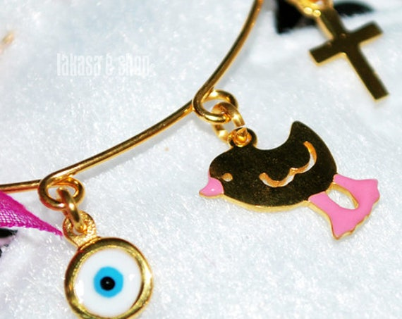 Pink Enamel Little Bird Baby Brooch Sterling Silver Gold Handmade Jewelry Cross Eye Shower Day Religious Baptism Newborn Baby It is a girl