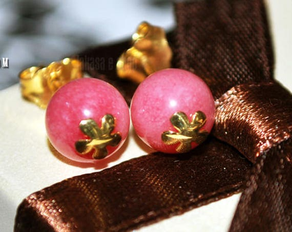 Flowers stud earrings cherry quartz beads round sterling silver gold plated Handmade Jewelry pink candy color lovely natural gemstone gifts