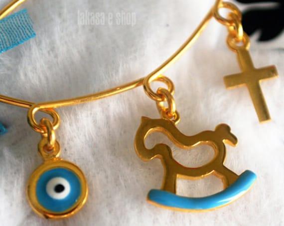 Blue Enamel Pony Carousel Baby Brooch Sterling Silver Gold Handmade Jewelry Cross Eye Mama Happy Shower Day Religious Baptism Newborn Boy