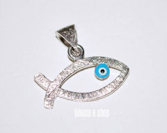 Fish Enamel Blue Eye Sterling Silver white Gold plated Religious Handmade Jewelry Baby Boy Girl Shower Day Mommy Baptism Newborn Men Unisex