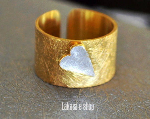 Heart Chevalier Ring Silver 925 Gold-plated Handmade Jewelry Love Valentine Day Best Gifts For Her Anniversary Birthday Girlfriend Woman