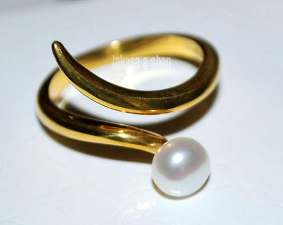 Freshwater Pearl Ring Silver 925 Gold-plated Handmade Jewelry Gift for her Woman Anniversary Cool Summer Look Bridal Greek Style Modern
