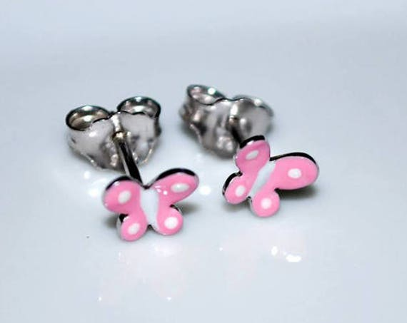 Enamel pink butterfly stud earrings sterling silver white gold plated handmade jewelry cute girl Kids Collection baby moda gifts girl