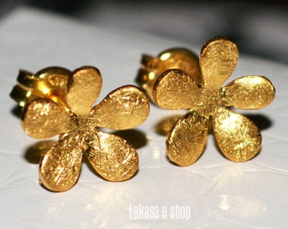 Flowers Studs Earrings Silver 925 Gold-plated Jewelry