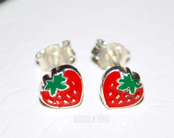 Juicy Strawberry Red Green Enamel Jewelry Stud Earrings Sterling Silver Girl School Kids Collection Moda Fun Color Fruit Cool Best Gift idea