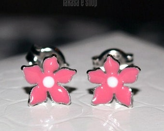 Blue Enamel Flower Stud Earrings Sterling Silver 925 white Gold plated Handmade Jewelry Baby Girl Moda Gift Kids Collection Floral Design