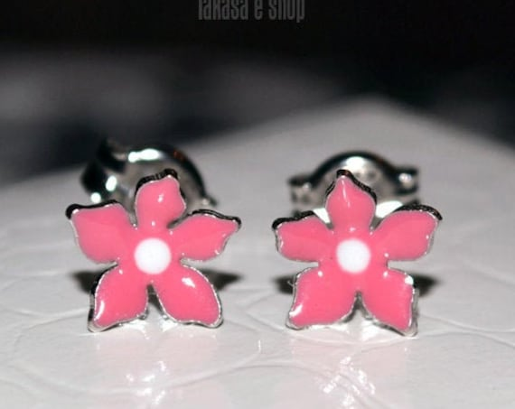 Pink Enamel Flowers Studs Earrings Silver 925 white Gold-plated Handmade Jewelry Baby Girl Moda Best Gifts Kids Collection Floral Design
