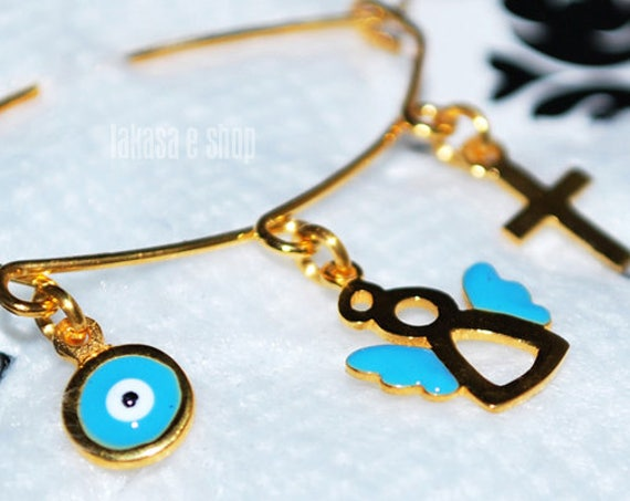 Blue Enamel Sweet Angel Baby Brooch Sterling Silver Gold Handmade Jewelry Cross Eye Mama Happy Shower Day Religious Baptism Newborn Boy