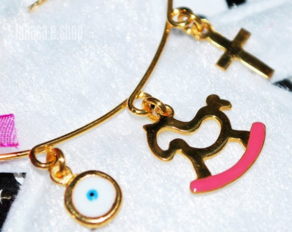 Pink Enamel Pony Carousel Baby Brooch Sterling Silver Gold Handmade Jewelry Cross Eye Mama Happy Shower Day Religious Baptism Newborn Girl