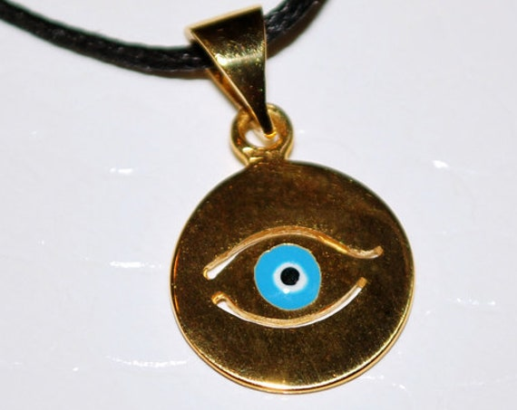 Necklace Enamel Blue Eye Sterling Silver 925 Gold-plated Handmade Jewelry Baby Girl Boy Baptism Newborn Unisex Women Summer Collection