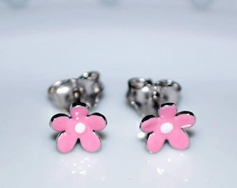 013d30a08 Pink Enamel Flower Stud Earrings Sterling Silver 925 white Gold plated  Handmade Jewelry Baby Girl Moda Gift Kids Collection Floral Design