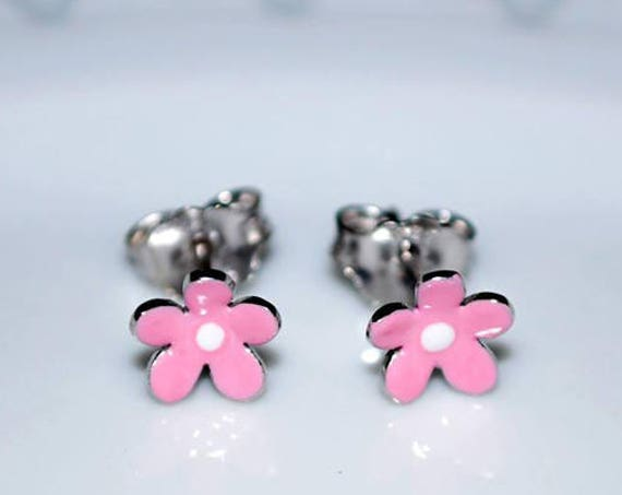 Pink Enamel Flower Stud Earrings Sterling Silver 925 white Gold plated Handmade Jewelry Baby Girl Moda Gift Kids Collection Floral Design
