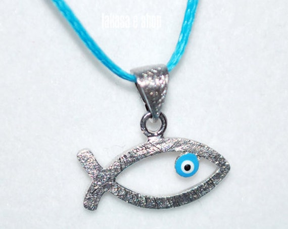 Fish Necklace Enamel Blue Eye Sterling Silver white Gold plated Religious Handmade Jewelry Birthday Shower Day Baby Boy Girl Baptism Newborn