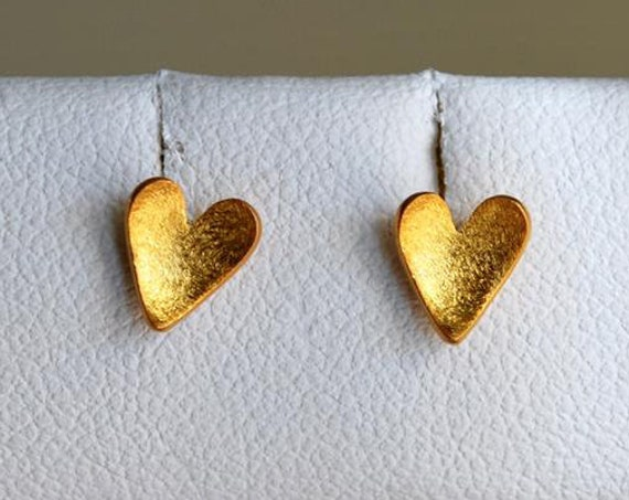 Hearts Studs Earrings Silver 925 Gold-plated Handmade Jewelry for her Birthday Girly Best Gifts Valentine Day Woman Mother Love Friendship