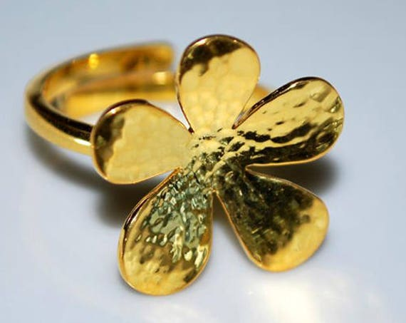 Flower Ring Silver 925 Gold-plated Handmade Jewelry Lakasa eShop Floral Design Amor Love Anniversary Princess Woman Best Ideas Gifts For Her