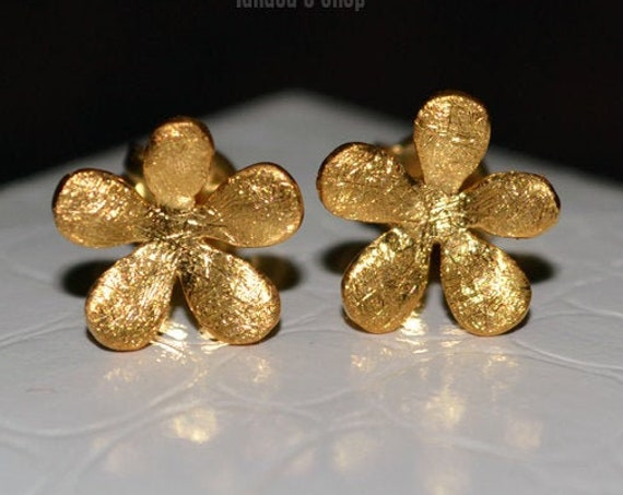 Flowers Studs Earrings Silver 925 Gold-plated Handmade Jewelry Woman Sweet Girl Floral Design Moda Romantic Style Best Price Ideas Gifts