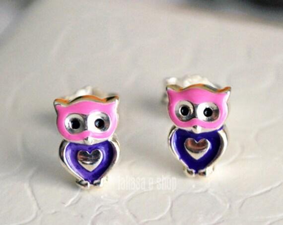 Heart Owl Enamel Jewelry Stud Earrings Sterling Silver Girl School Kids Moda Color Purple Pink Gift idea Woman Girlfriend Birthday Party Fun